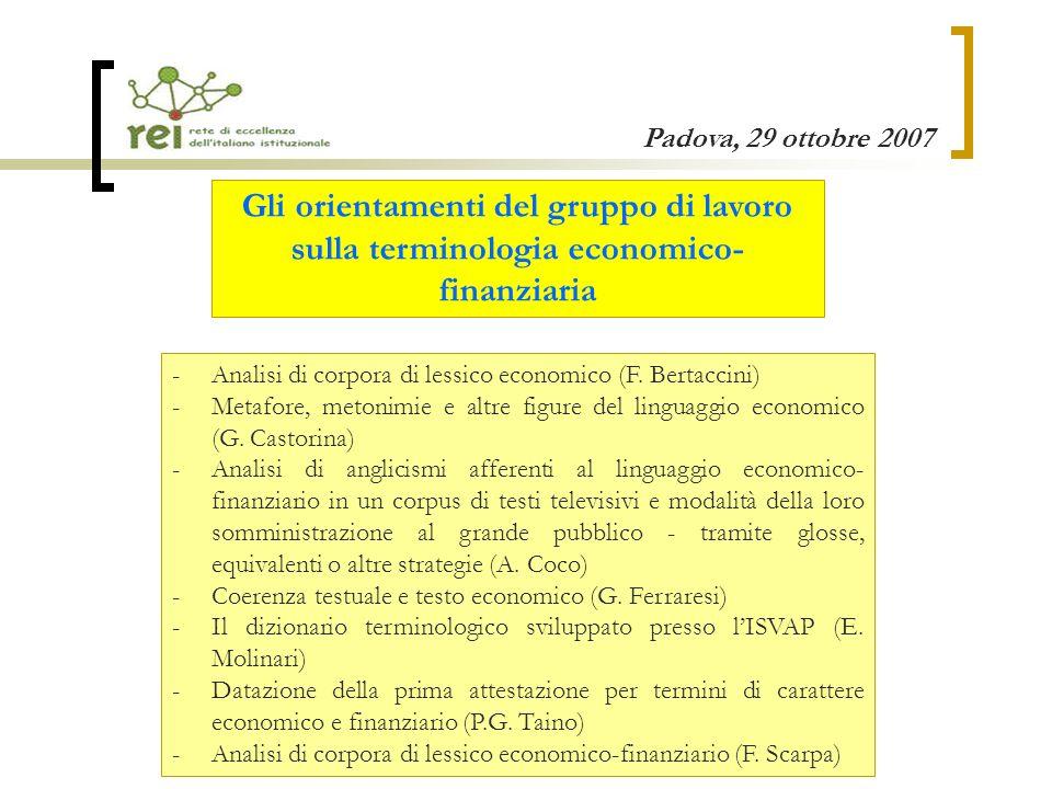 Gli orientamenti del gruppo di lavoro sulla terminologia economico-finanziaria