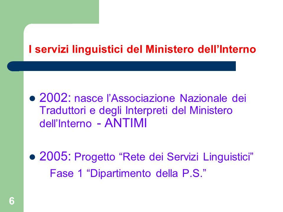 I servizi linguistici del Ministero dell'Interno