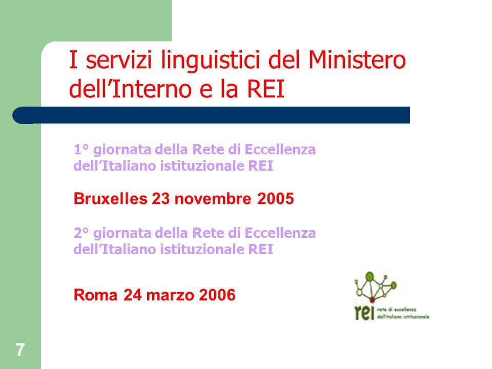 I servizi linguistici del Ministero dell'Interno e la REI