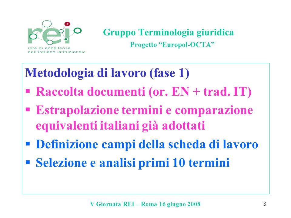 Gruppo Terminologia giuridica Progetto Europol-OCTA