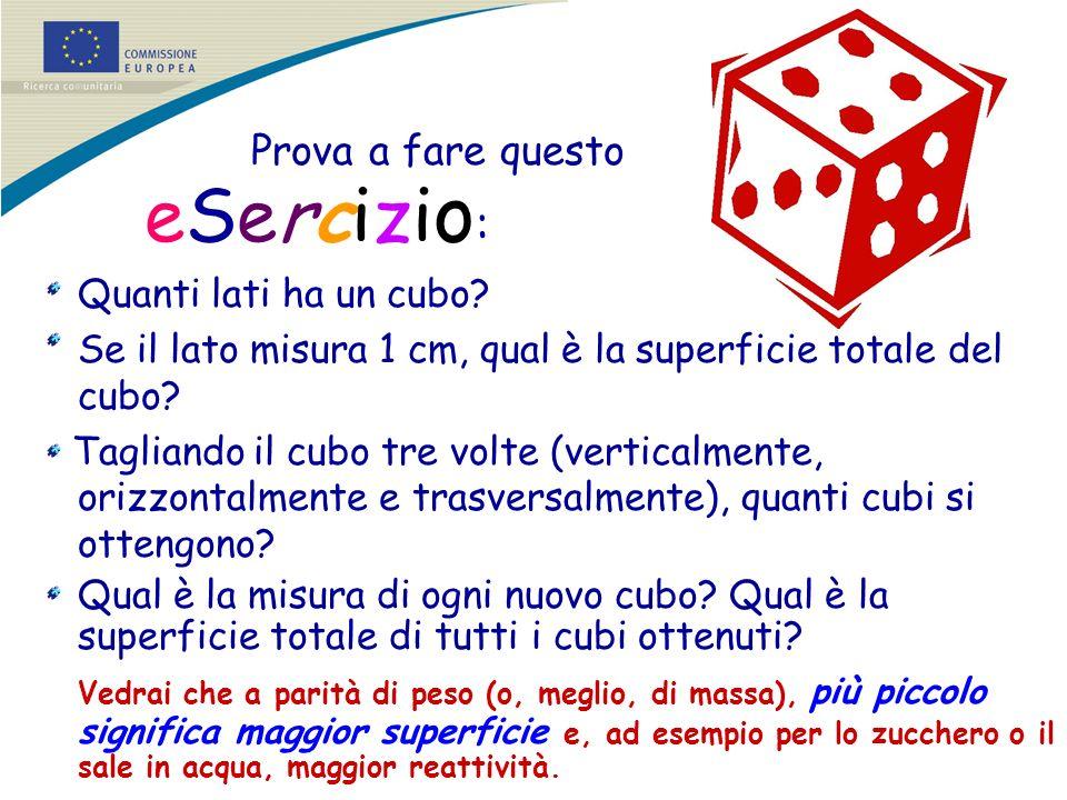 Se il lato misura 1 cm, qual è la superficie totale del cubo