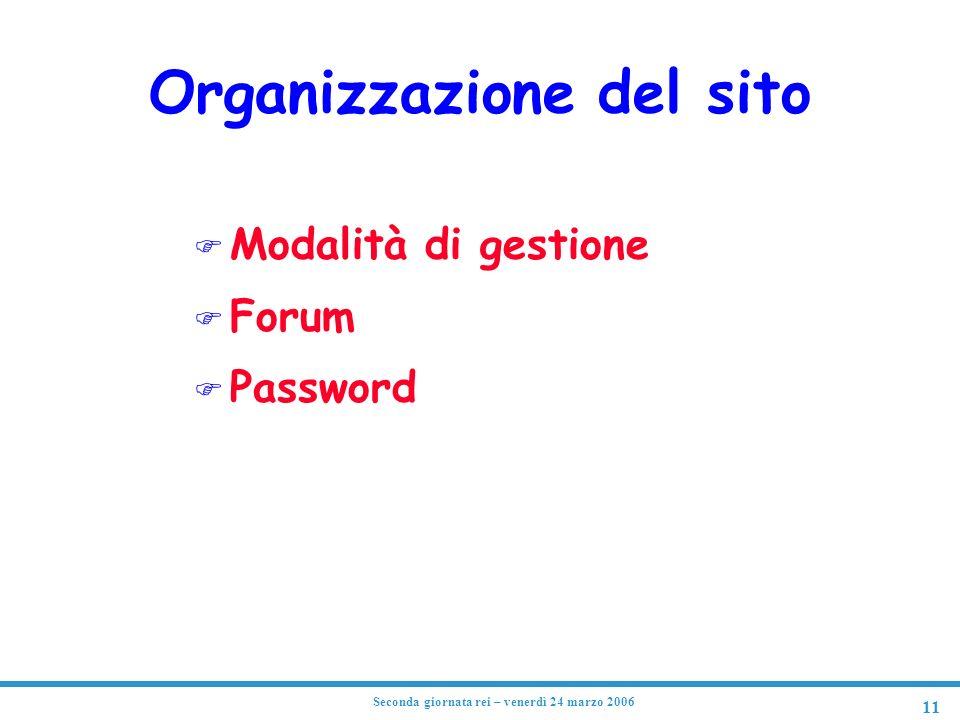 Organizzazione del sito