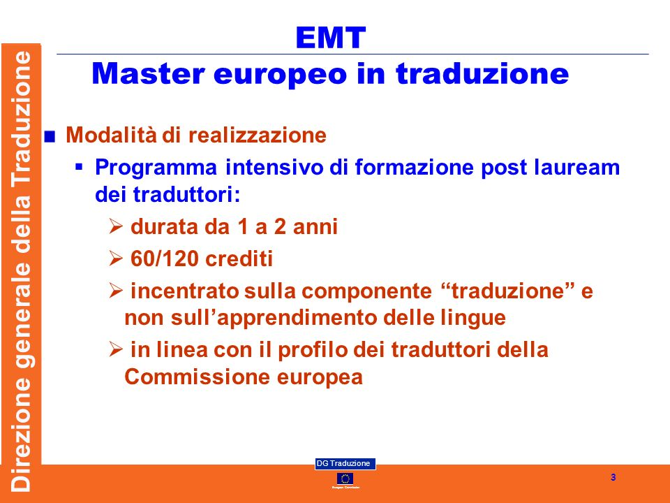 EMT Master europeo in traduzione