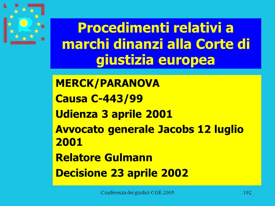 Procedimenti relativi a marchi dinanzi alla Corte di giustizia europea