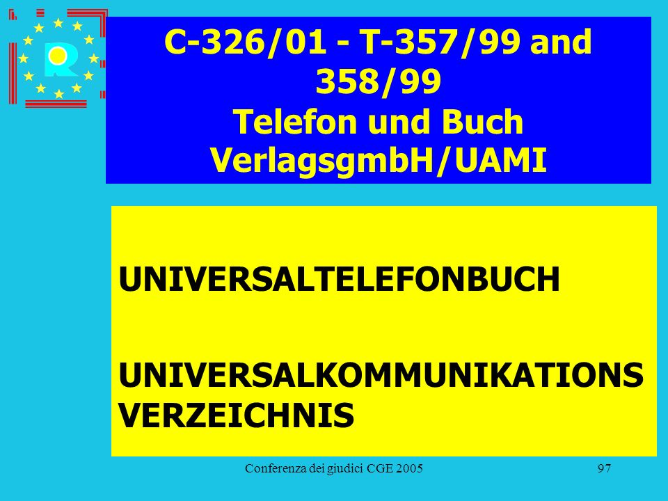 C-326/01 - T-357/99 and 358/99 Telefon und Buch VerlagsgmbH/UAMI
