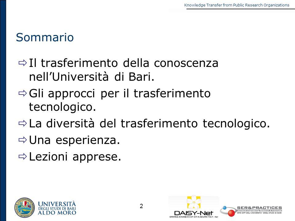 Sommario Il trasferimento della conoscenza nell'Università di Bari. Gli approcci per il trasferimento tecnologico.
