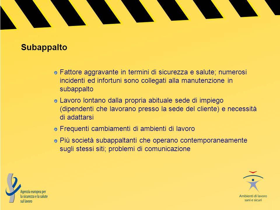 Subappalto Fattore aggravante in termini di sicurezza e salute; numerosi incidenti ed infortuni sono collegati alla manutenzione in subappalto.