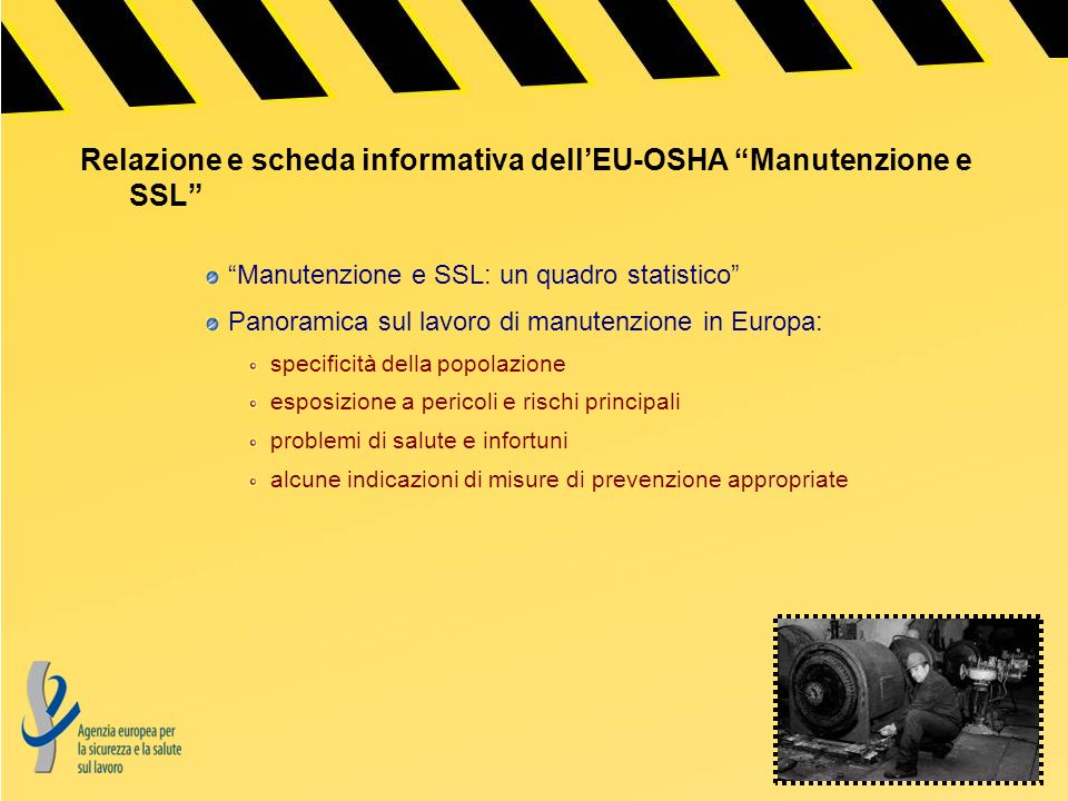 Relazione e scheda informativa dell'EU-OSHA Manutenzione e SSL