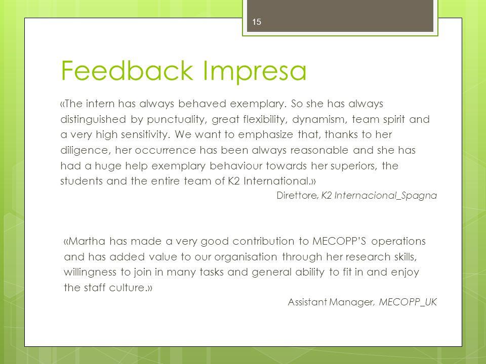 Feedback Impresa «The intern has always behaved exemplary. So she has always.