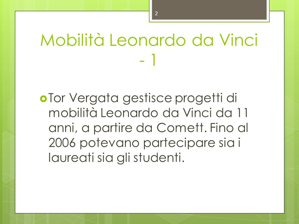 Mobilità Leonardo da Vinci - 1