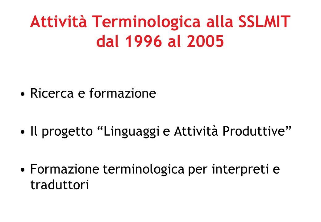 Attività Terminologica alla SSLMIT dal 1996 al 2005