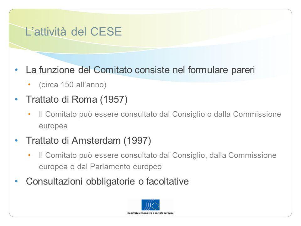 L'attività del CESE La funzione del Comitato consiste nel formulare pareri. (circa 150 all'anno) Trattato di Roma (1957)