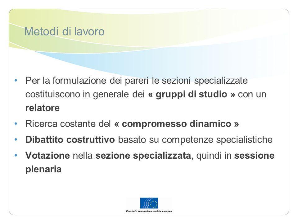 Metodi di lavoro Per la formulazione dei pareri le sezioni specializzate costituiscono in generale dei « gruppi di studio » con un relatore.