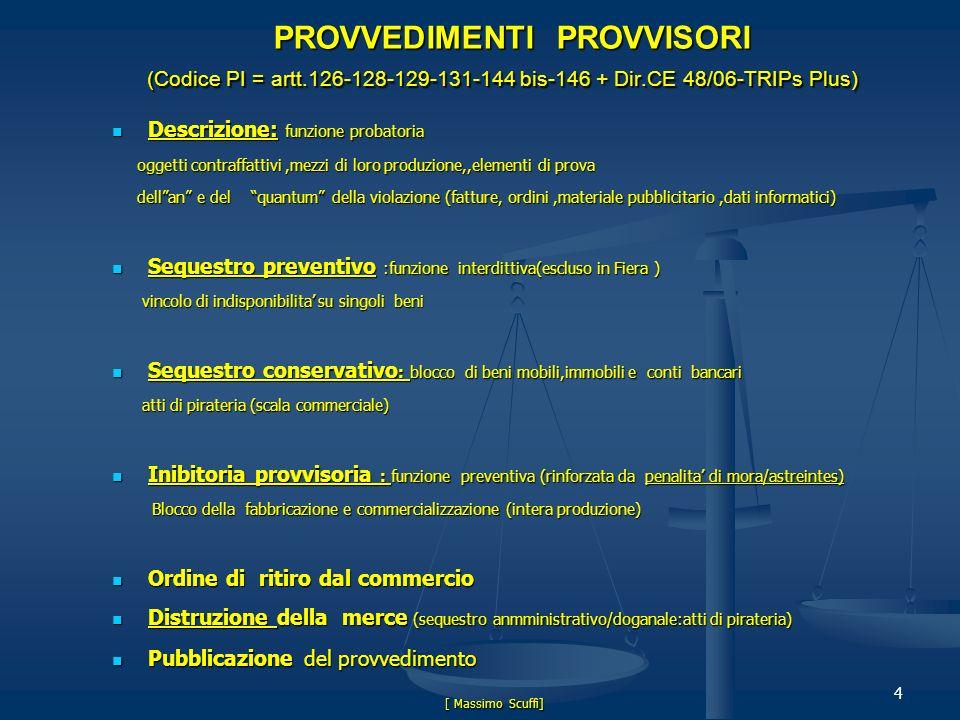 Presentation Roche PROVVEDIMENTI PROVVISORI (Codice PI = artt.126-128-129-131-144 bis-146 + Dir.CE 48/06-TRIPs Plus)