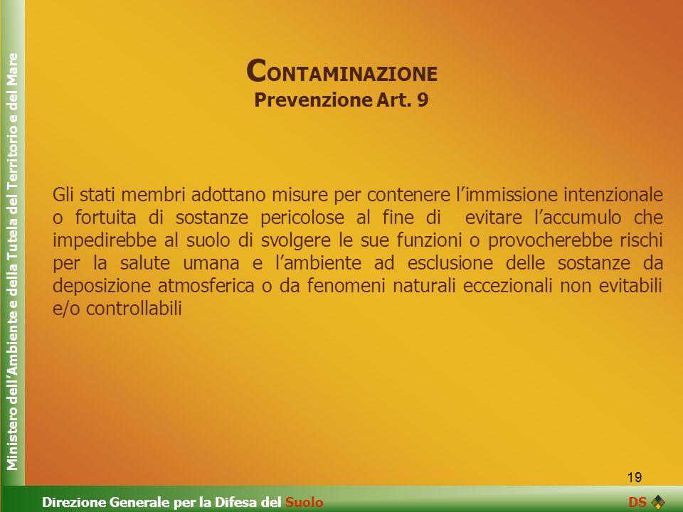 CONTAMINAZIONE Prevenzione Art. 9