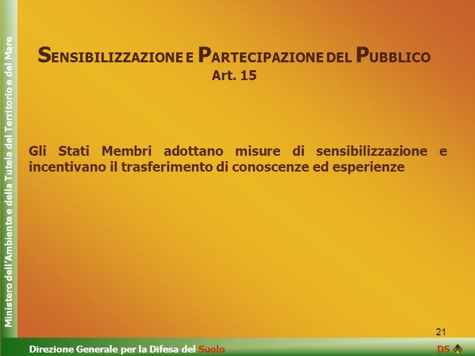 SENSIBILIZZAZIONE E PARTECIPAZIONE DEL PUBBLICO Art. 15