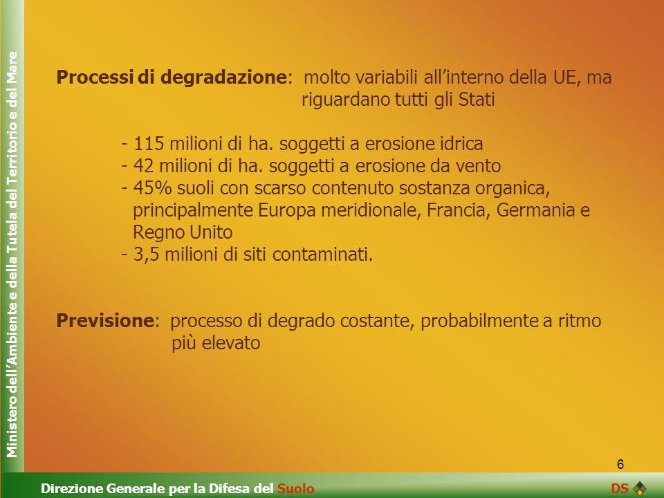 Processi di degradazione: molto variabili all'interno della UE, ma
