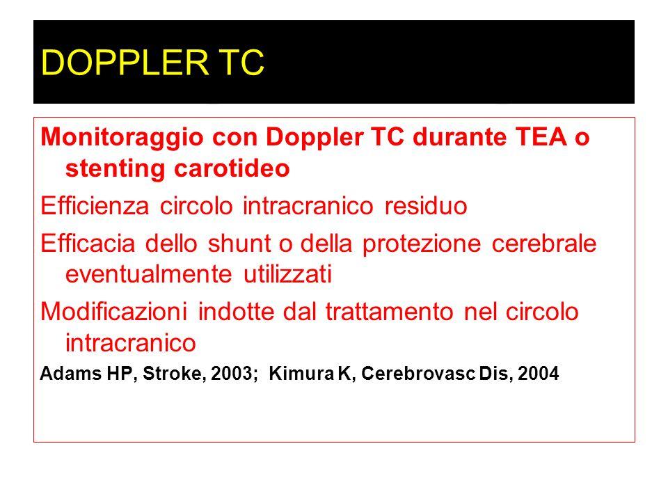 DOPPLER TCMonitoraggio con Doppler TC durante TEA o stenting carotideo. Efficienza circolo intracranico residuo.