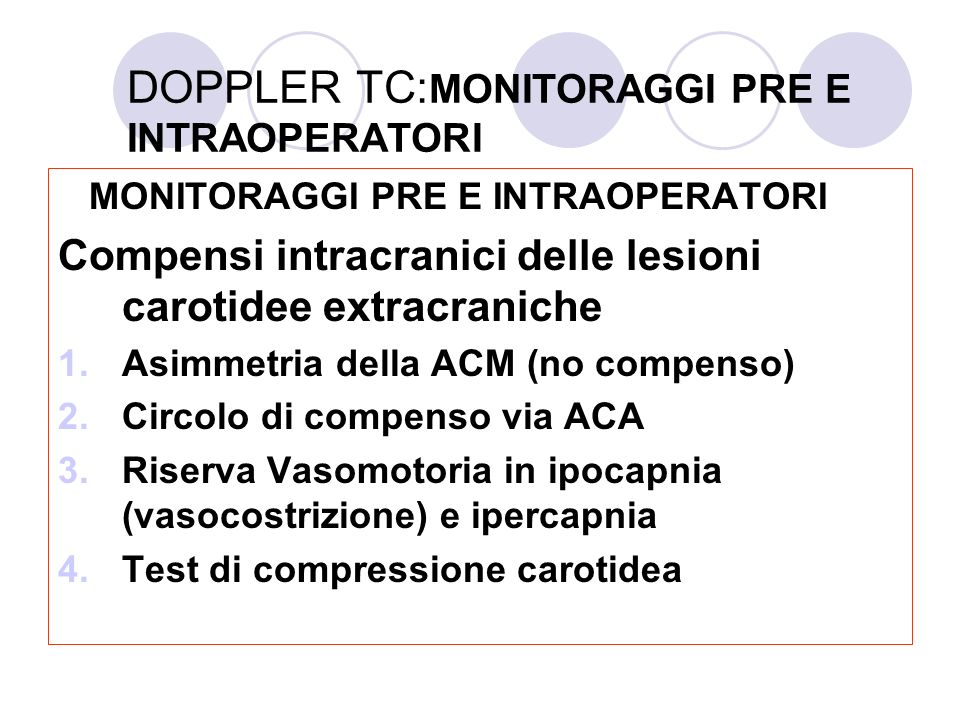 DOPPLER TC:MONITORAGGI PRE E INTRAOPERATORI