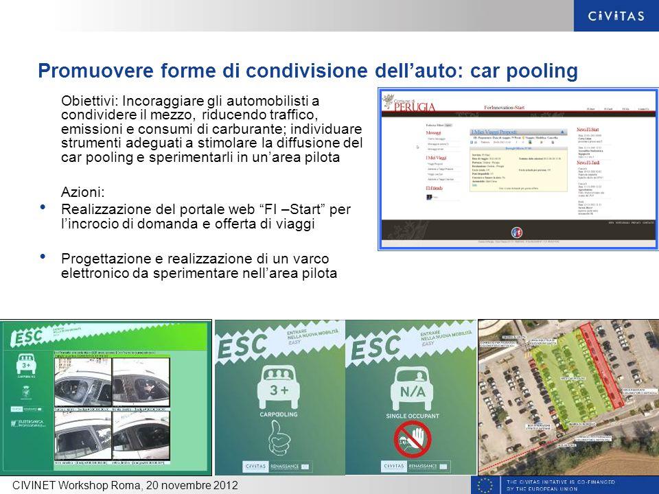 Promuovere forme di condivisione dell'auto: car pooling