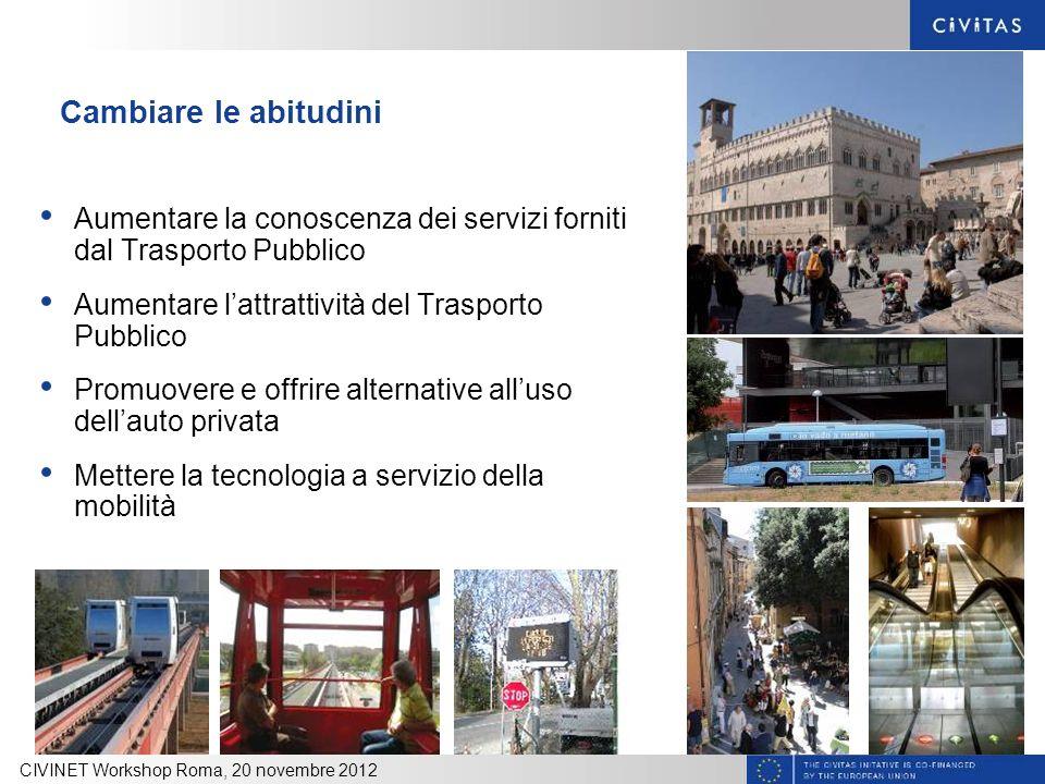 Cambiare le abitudini Aumentare la conoscenza dei servizi forniti dal Trasporto Pubblico. Aumentare l'attrattività del Trasporto Pubblico.