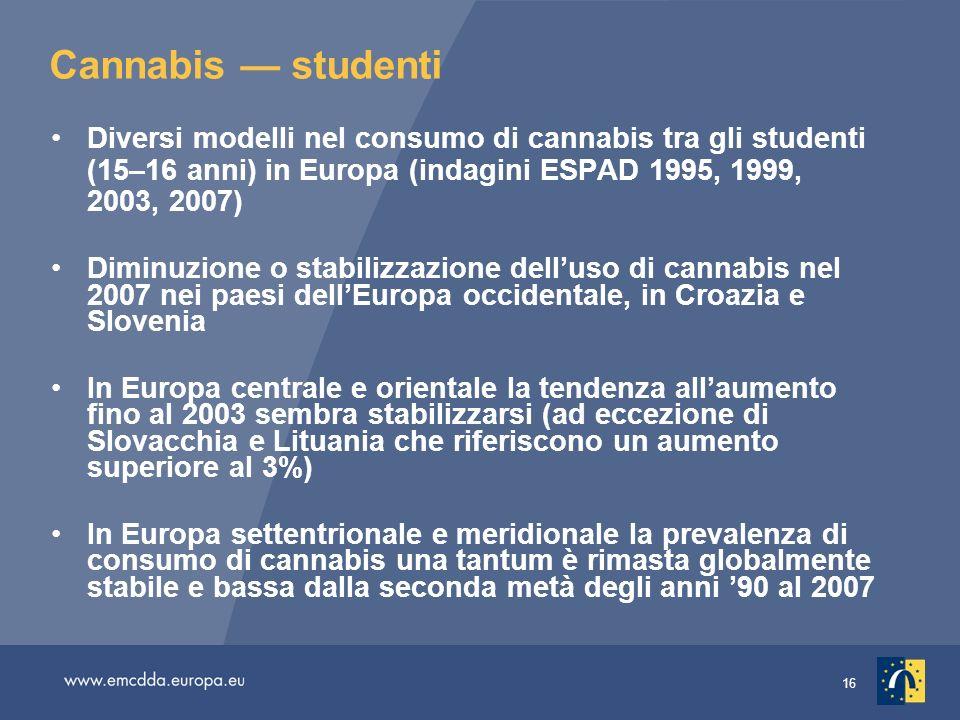 Cannabis — studentiDiversi modelli nel consumo di cannabis tra gli studenti (15–16 anni) in Europa (indagini ESPAD 1995, 1999, 2003, 2007)