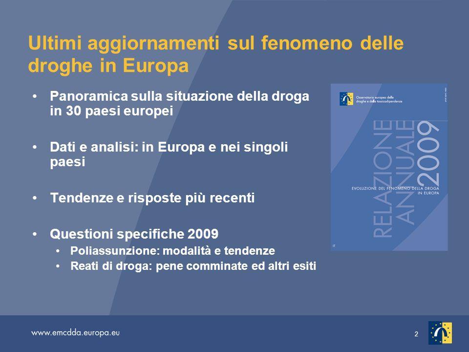 Ultimi aggiornamenti sul fenomeno delle droghe in Europa