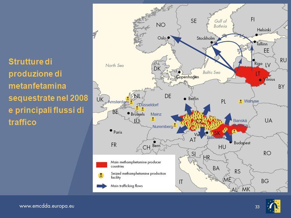 Strutture di produzione di metanfetamina sequestrate nel 2008 e principali flussi di traffico