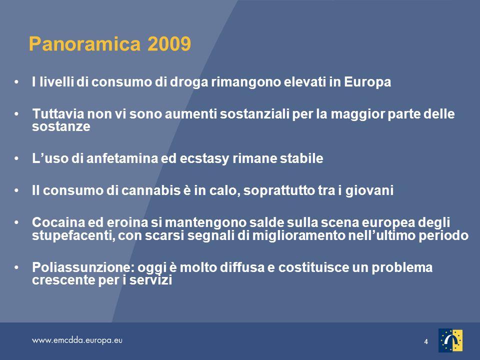 Panoramica 2009I livelli di consumo di droga rimangono elevati in Europa.
