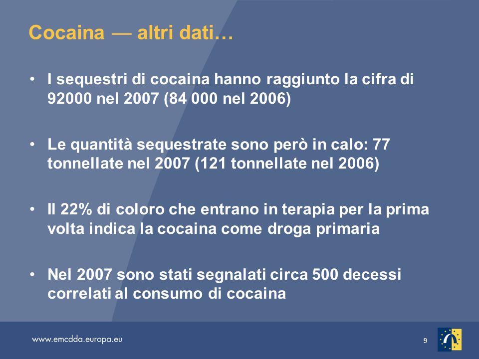 Cocaina — altri dati…I sequestri di cocaina hanno raggiunto la cifra di 92000 nel 2007 (84 000 nel 2006)