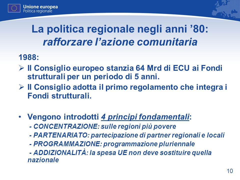 La politica regionale negli anni '80: rafforzare l'azione comunitaria