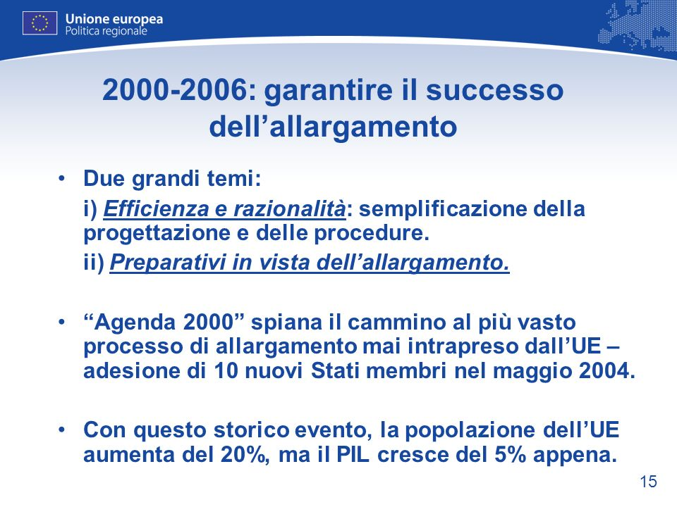 2000-2006: garantire il successo dell'allargamento