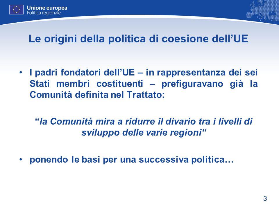 Le origini della politica di coesione dell'UE