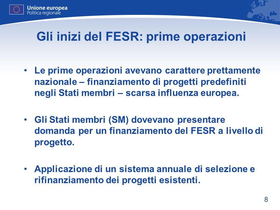Gli inizi del FESR: prime operazioni