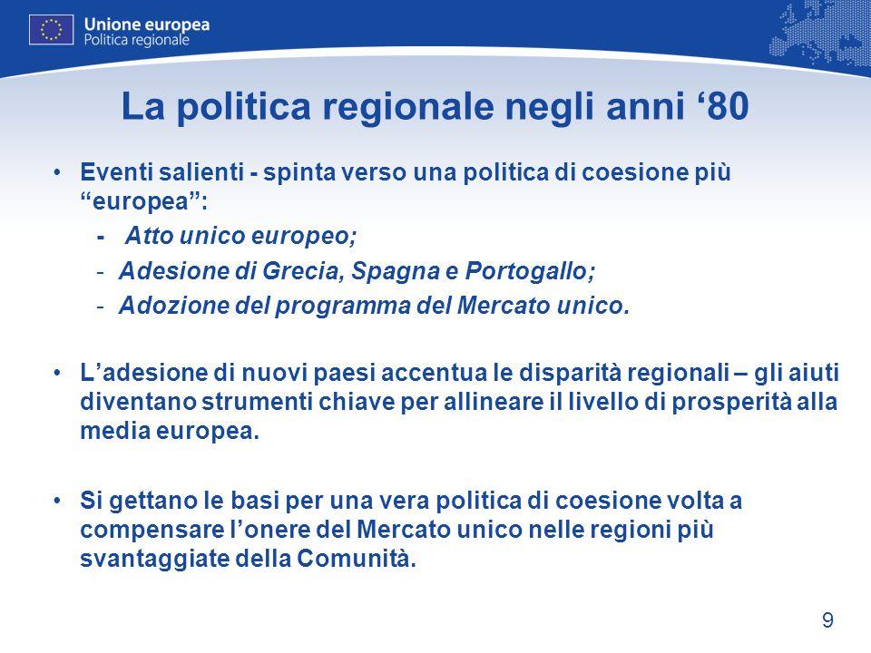 La politica regionale negli anni '80