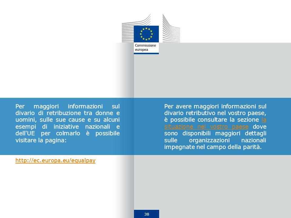 Per maggiori informazioni sul divario di retribuzione tra donne e uomini, sulle sue cause e su alcuni esempi di iniziative nazionali e dell UE per colmarlo è possibile visitare la pagina:
