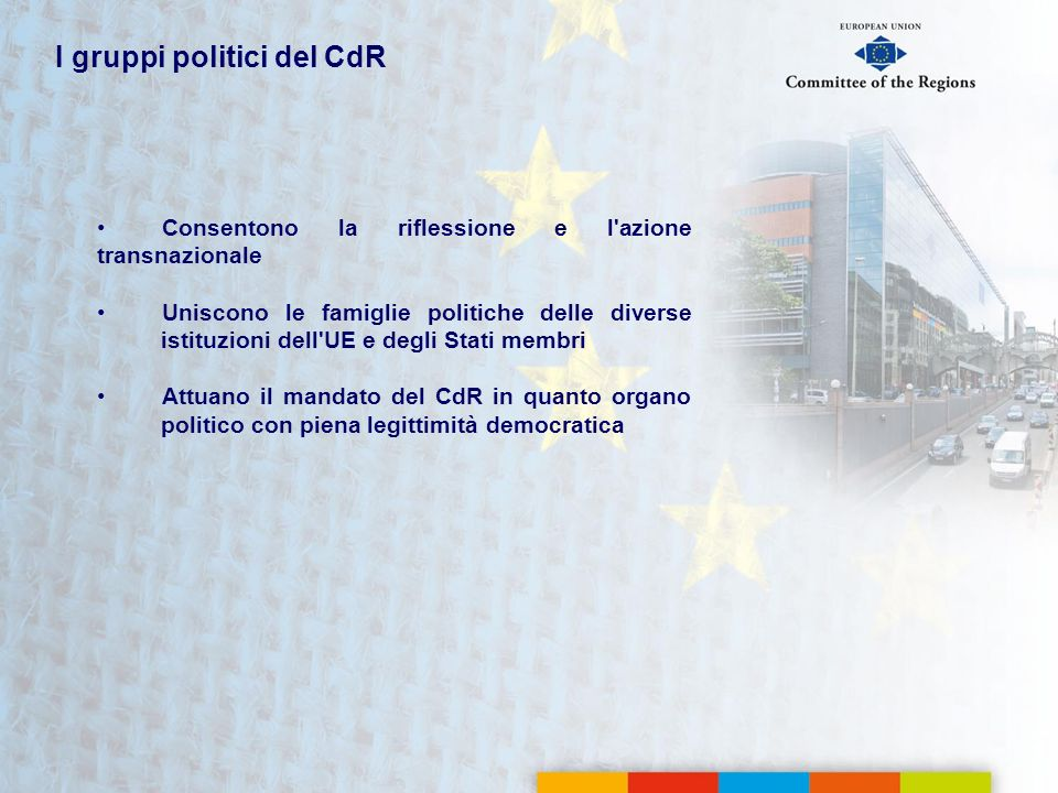 I gruppi politici del CdR