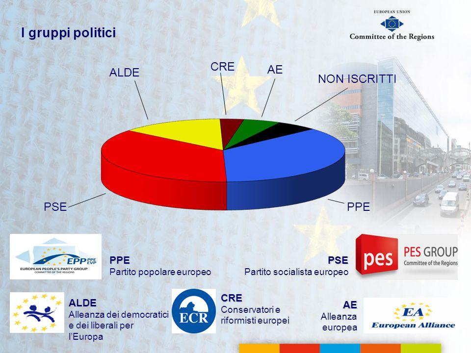 I gruppi politici CRE ALDE AE NON ISCRITTI PSE PPE PPE PSE CRE ALDE AE