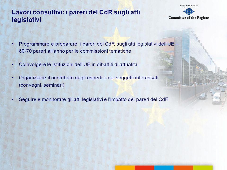 Lavori consultivi: i pareri del CdR sugli atti legislativi