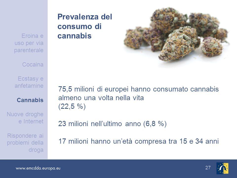 Prevalenza del consumo di cannabis