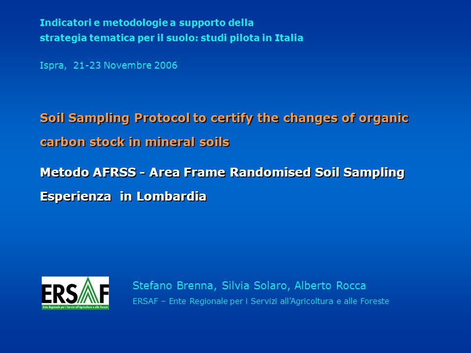 Metodo AFRSS - Area Frame Randomised Soil Sampling