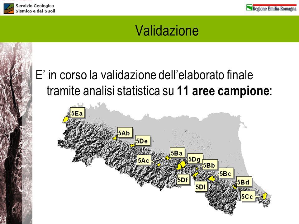 Validazione E' in corso la validazione dell'elaborato finale tramite analisi statistica su 11 aree campione: