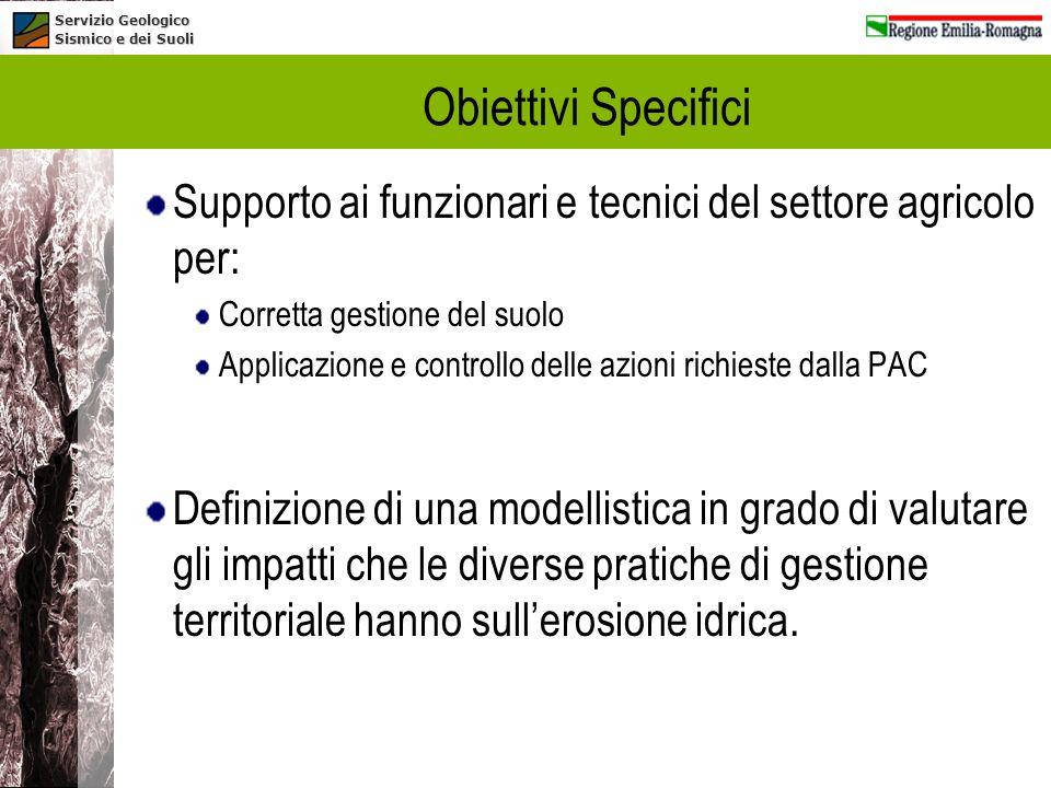 Obiettivi Specifici Supporto ai funzionari e tecnici del settore agricolo per: Corretta gestione del suolo.
