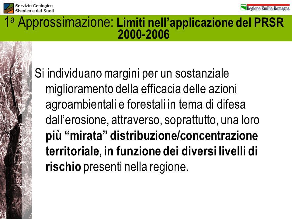 1a Approssimazione: Limiti nell'applicazione del PRSR 2000-2006