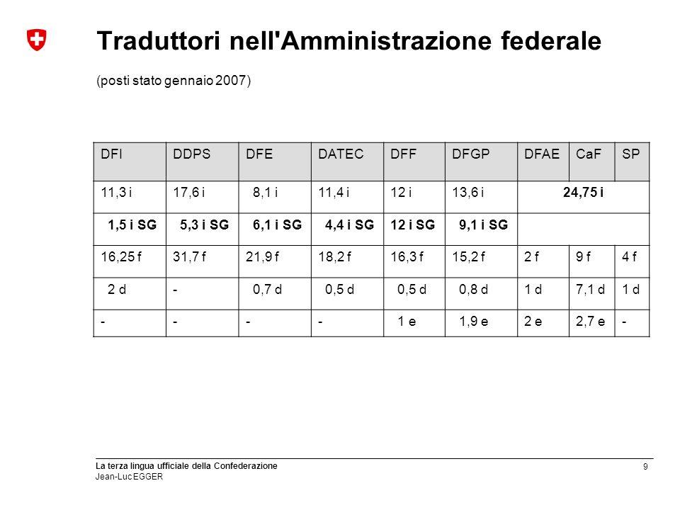 Traduttori nell Amministrazione federale (posti stato gennaio 2007)