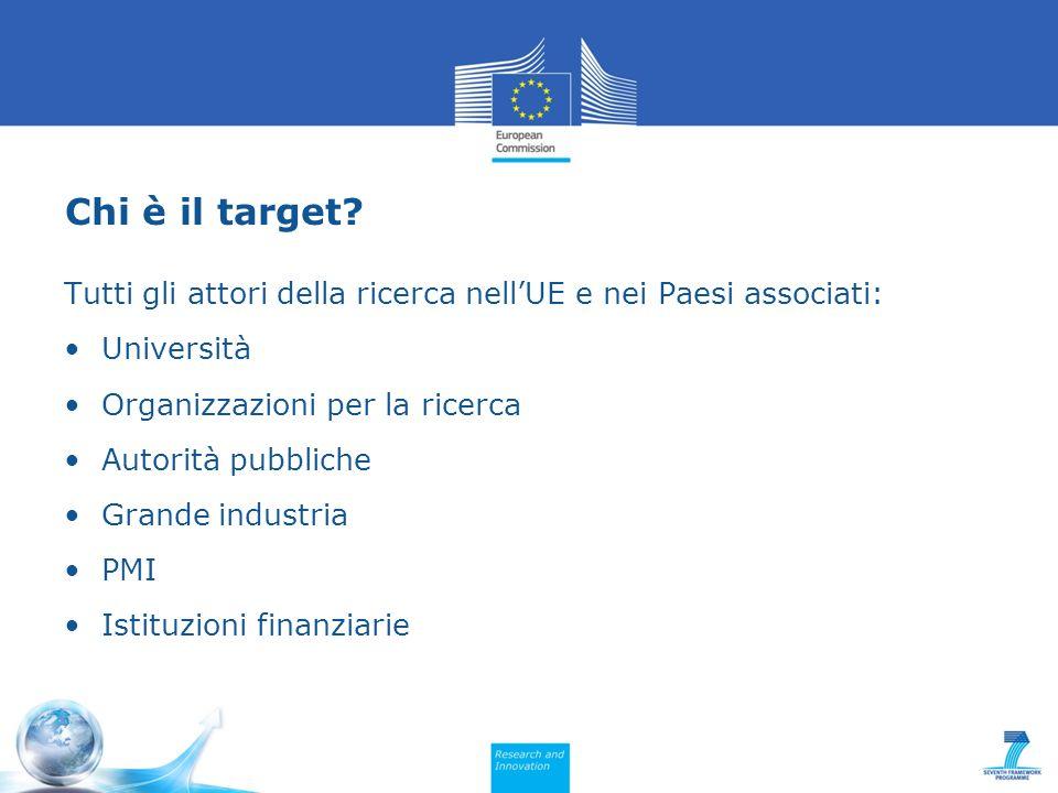 Chi è il target Tutti gli attori della ricerca nell'UE e nei Paesi associati: Università. Organizzazioni per la ricerca.