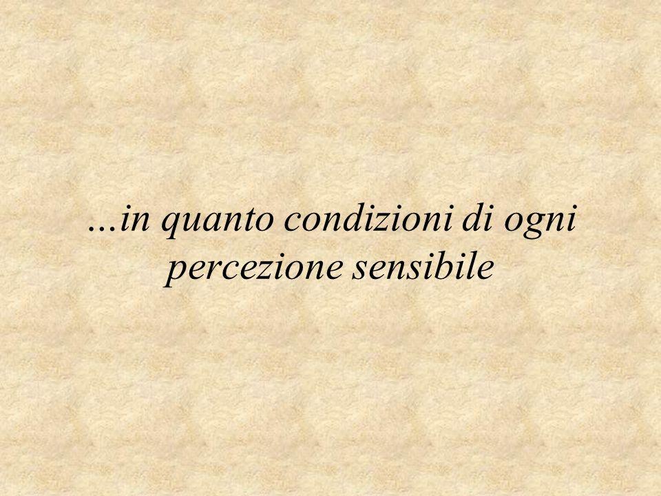 …in quanto condizioni di ogni percezione sensibile