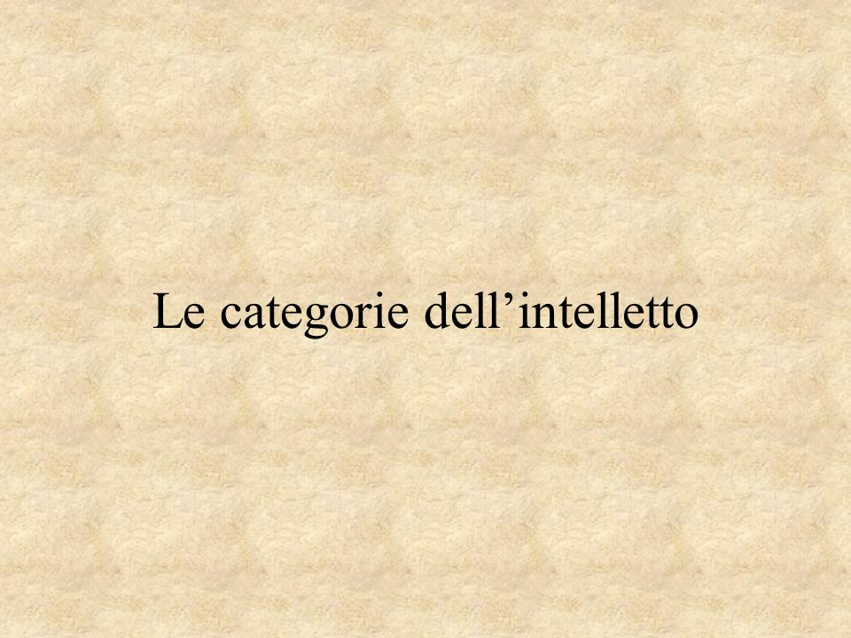 Le categorie dell'intelletto