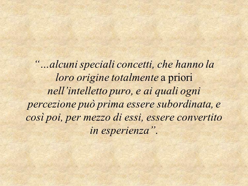 …alcuni speciali concetti, che hanno la loro origine totalmente a priori nell'intelletto puro, e ai quali ogni percezione può prima essere subordinata, e così poi, per mezzo di essi, essere convertito in esperienza .