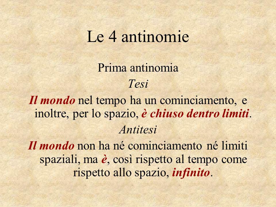 Le 4 antinomie Prima antinomia Tesi